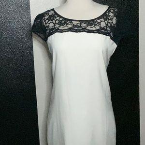 White and Gray Shift Dress